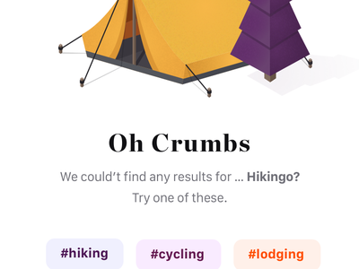plan your hike empty page suggestion results tags filters search illustration typography ux ui design app white simple minimal clean brandnew