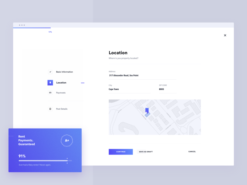 list your place interface app clean address city tenant landlord rental lease property listing real estate ui simple minimal progress step location form brandnew