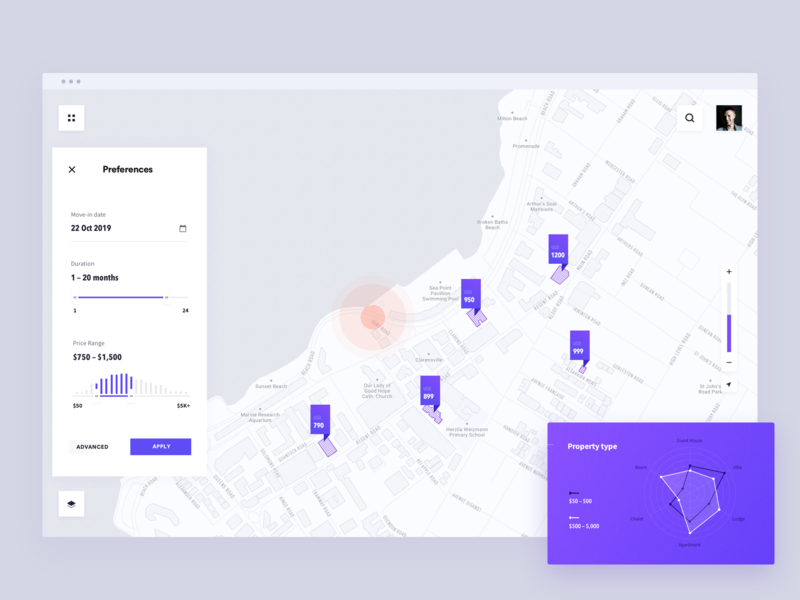 find the perfect sublet tenant price range preferences duration filter map location pin radar chart app white simple ui minimal clean brandnew