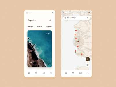 explore new places locations travel explore filter mobile maps design ui simple clean minimal brandnew
