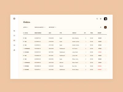 orders price order filter status clean design minimal crm interface app ui simple data grid table brandnew