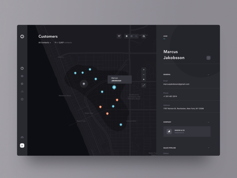 mapping customers pin map dashboard detail lead dark web app ui design simple clean minimal brandnew