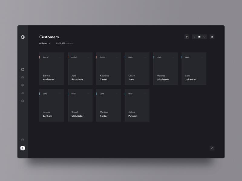 contacts list grid customers tool filter dark minimal clean simple app design ui brandnew