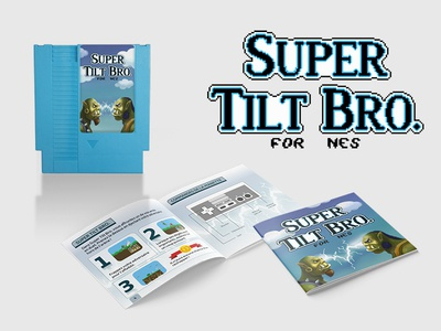 Nes cartridge sticker & Manual for Super Tilt Bro.