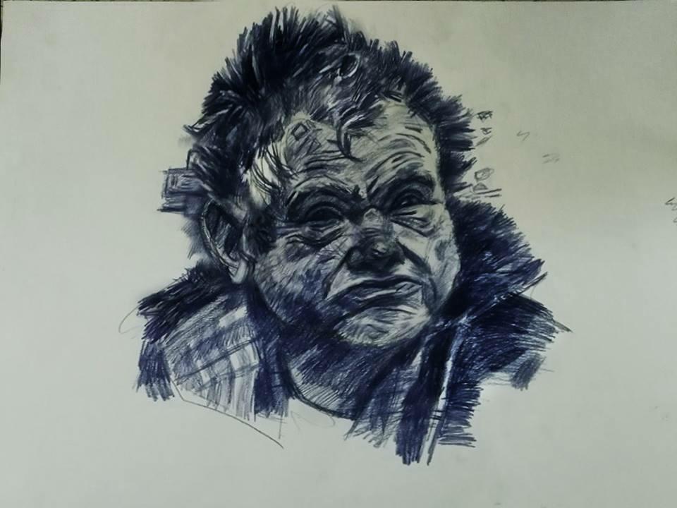 Drunkard illustration traditional art drawing portrait