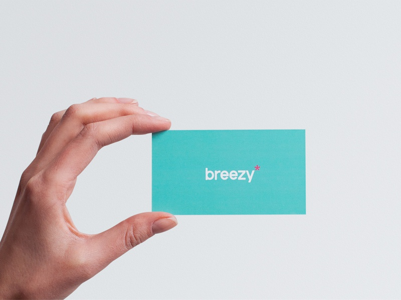 Breezy Business Card simple clean design typography logo studio business cards breezy card mark
