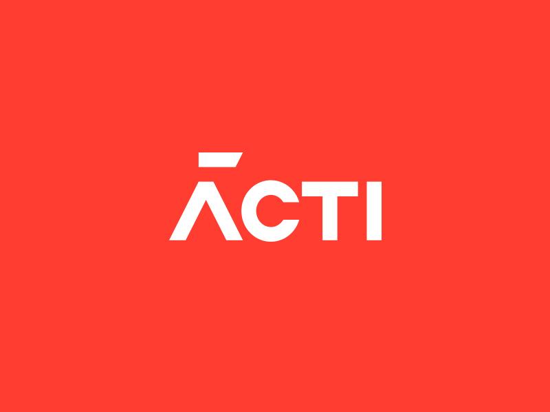 Acti simple clean design typography logo red white word wordmark