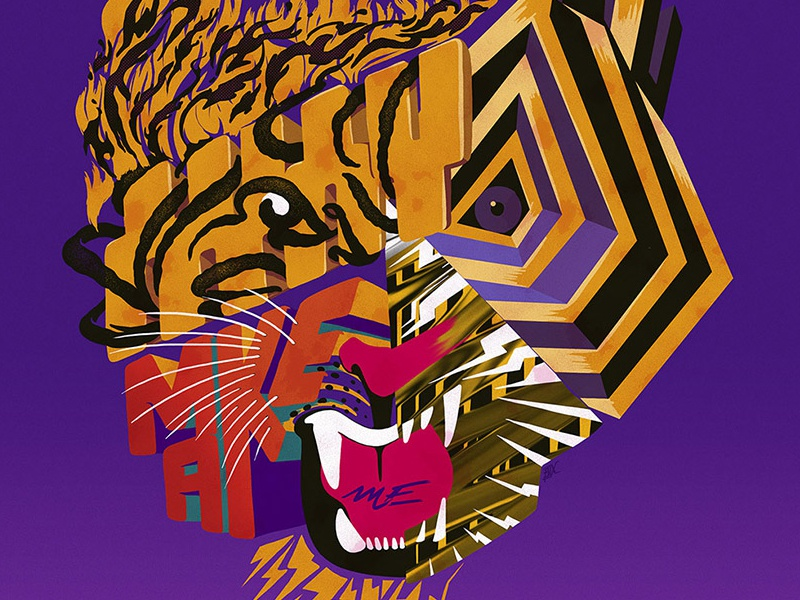 Tiger bolts 80 lettering painting tiger abstract illustration