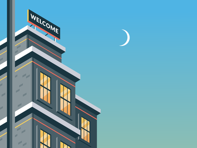 Welcome vector hotel building illustration geometric isometric art isometric illustration isometric design isometry