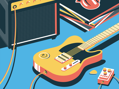 Fender vector happy rolling stones marshall music vinyl lp amplifier guitar isometric design isometric illustration isometric art isometric