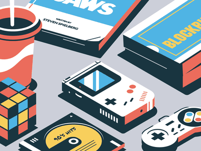 90's vibes video movies snes gameboy nintendo jaws music isometry illustration geometric vector isometric illustration isometric design isometric art