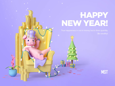 New Year's 2019 card agency card new year 2019 new year 3d animation design