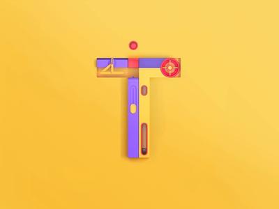 T - Technology, 3D letters font branding illustration design 3d lettering 3d letters 3d animation 3d art 3d agency animation