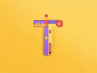 T - Technology, 3D letters
