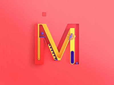 M - more, 3d letters element3d font branding creative agency design animation 3d animation 3d lettering 3d letters 3d art 3d