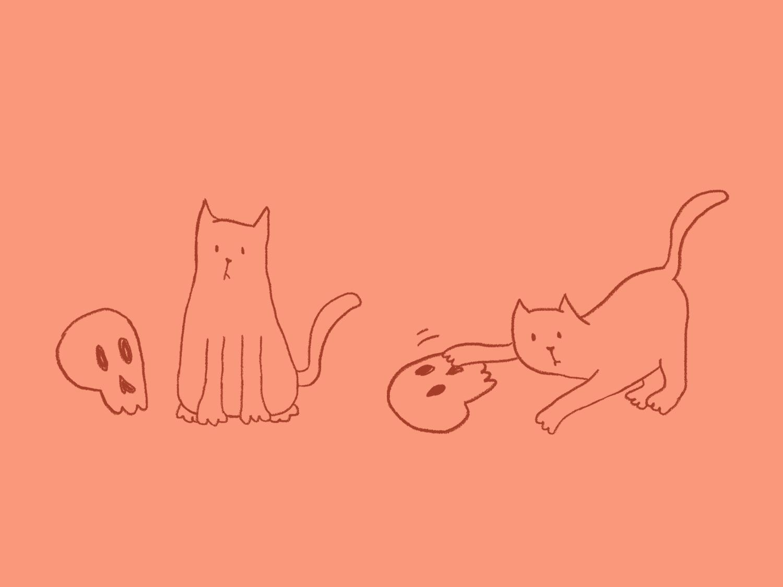 Cat and skull kitten poorly drawn skull cat