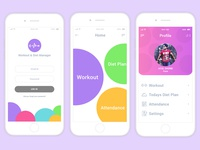Workout and Diet Manager App Design