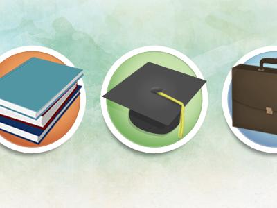 Books, Cap & Briefcase icons