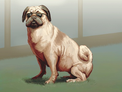 Captain Pen Pug concept art digital sunny grass sunglasses painting krita illustration pug animal pet