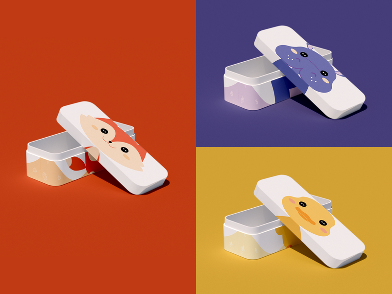 cookies box - packaging design kids duckling mockup 3d hippo fox illustration animal packaging design