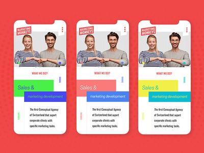 Different color variations for mobile version of MM website