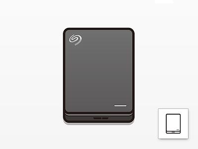 Seagate Backup Plus Slim vector illustration icon linear