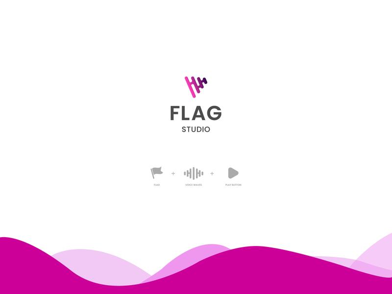 Flag studio logo flag flat logo illustrator icon design illustration vector logo branding