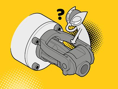 Tech & Cartoon vector graphic cat isometric design process instructions instructional illustration character design technical illustration