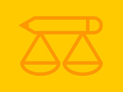 Balance bascule pencil motion graphics balance logo vector graphics icon ethic