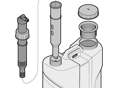 Zoom II technology tech detail adobe illustrator zoom in line art vector illustration fake3d isometric device instructional illustration instructions