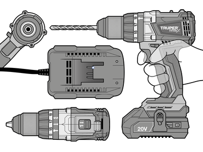Cordless Hammer Drill orthographic projection transparency icons user hand adobe illustrator vector illustration instructional illustration power tools technical illustration technical drawing