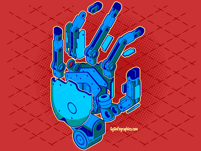 Evan's Hand hand isometric design exploded view assembly vector graphics adobe illustrator isometric technical illustration technical drawing tech robotics