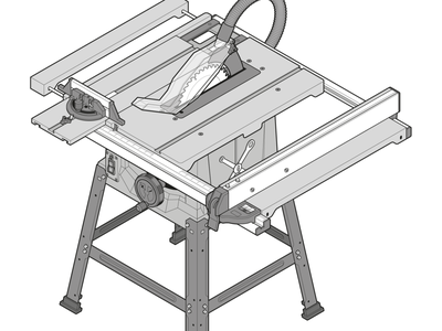 Table Saw assembly step by step process instructional design instructional illustration blueprint woodworking tech fake3d adobe illustrator technical illustration technical drawing isometric design