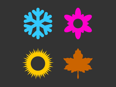 All the seasons are amazing leaf flower ice sun svg colors vectors after effects morphing logo icon four seasons seasons fall spring winter summer