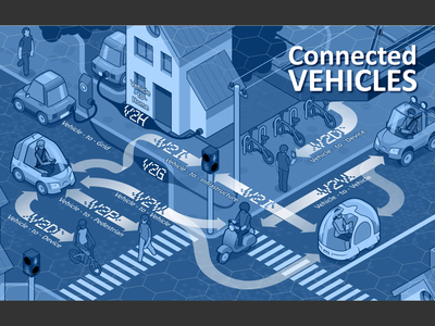 Connected Vehicles traffic lights traffic connections house vespa bicycle pedestrian van truck town street vector graphics isometric isometric design infographic network net vehicle car