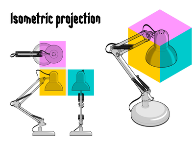 Isometric Projection balanced arm lamp floating arm lamp motion graphics instructional design instructions adobe illustrator notes tip technical illustration technical drawing technical graphics isometric art isometric lamp vector graphics