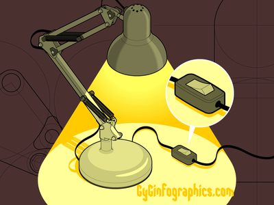 Turning ON and OFF floatingarmlamp balancedarmlamp tech blueprint darkness off on detail isometric art fake 3d industrial design technical graphic technical drawing technical illustration switch click lamp light vector graphics isometric