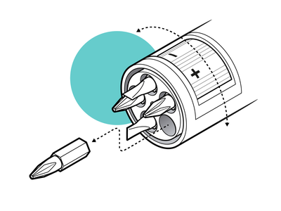 Screwdriver Tips instructional illustration instructions assembly adobe illustrator bolts kit set arrows handyman tool isometric illustration vector graphic technical drawing technical illustration