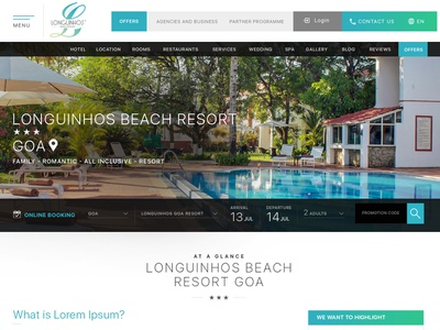 Longuinhos Beach Resort Goa wordpress web development web design custom theme ui design