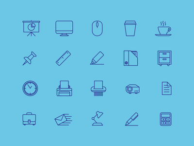Office Icon set set ui icons ruler mac coffee mail printer lines icon office