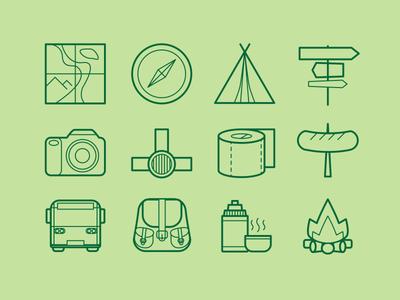 Hiking Icon Set compass tourist tent camp fire icon set hiking hike