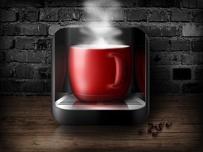 Coffee icon coffee cafe cup iphone ipad ios icon red
