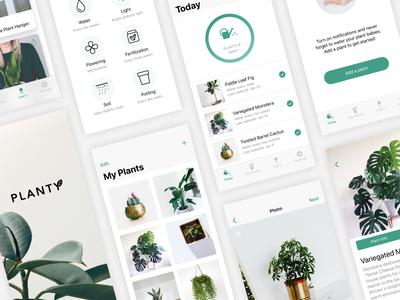 Plant Care App Design reminder plant minimalism ui minimal app design ios design app  design