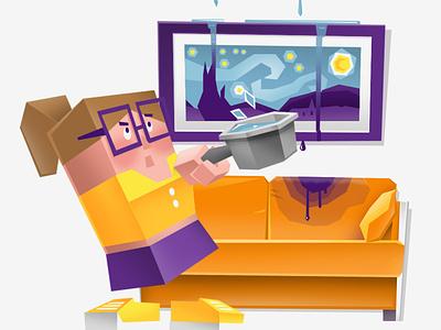Ceiling leak illustration vector