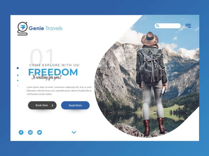 Genie Travel Page vector logo illustration graphic layout design colorful branding poster background