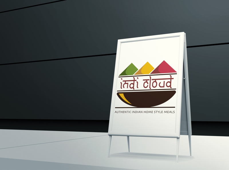 Indi Cloud vector logo illustration graphic layout design colorful branding poster background