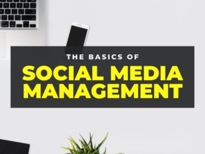Social Media Management yellow templates design banner branding poster power knowledge youtube twitter instagram facebook public tags network networking management media social