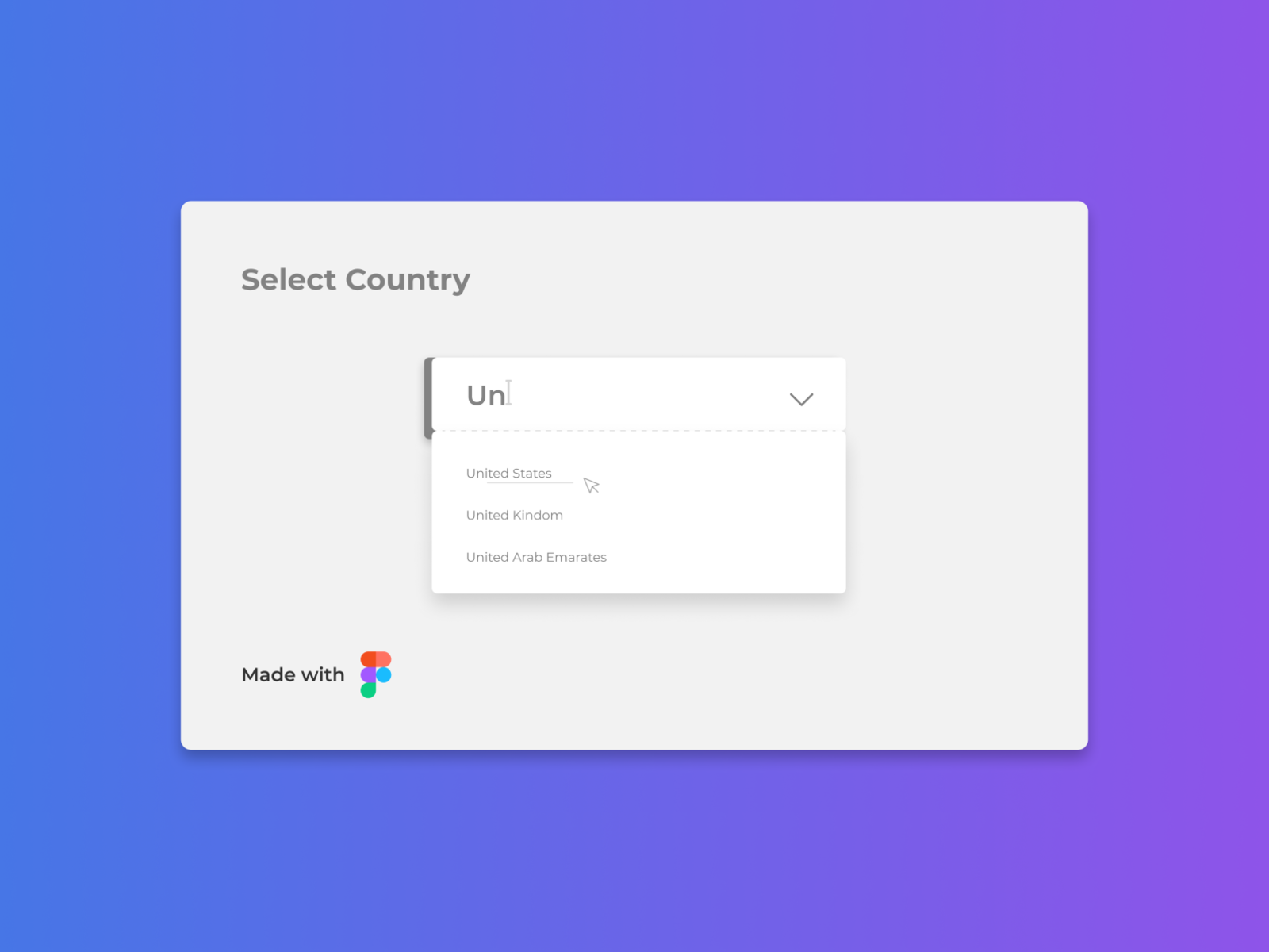 Static mockup of a custom select input to select countries