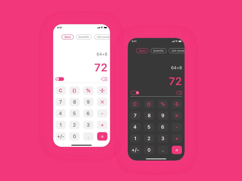 DailyUI✨004 ✨ mobile design dailyui 004 ios app design ios app ios dark mode light mode calculator ui calculator app ui product design design daily ui dailyui