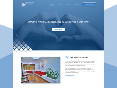Family Practice sketch home screen home page blue web web design doctors medical